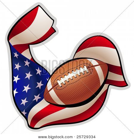 Brawny hand in colors of American flag with tense biceps in the shape of ball