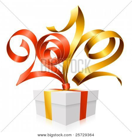 New Year and Christmas background with vector gift box, golden and red ribbon