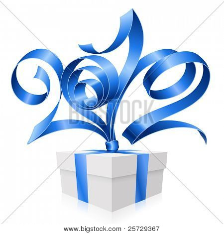 New Year and Christmas background with vector blue ribbon in the shape of 2012 and gift box