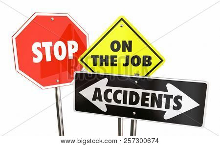 Stop On the Job Accidents Prevent Workplace Injuries Warning Signs 3d Illustration
