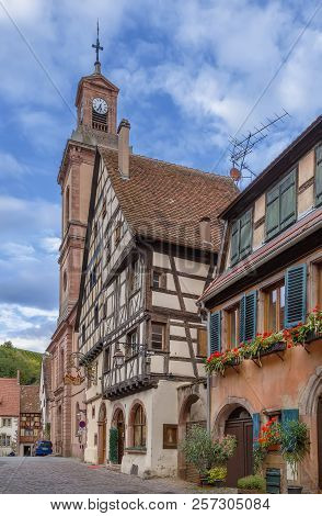 Street With Historical Houses In Riquewihr, Alsace, France