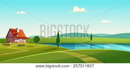 Rural Landscape With Cottage On The Lake. Country House On The Lakeshore. Farmland Vector Illustrati