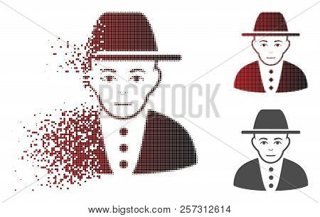 Jew Icon With Face In Fractured, Pixelated Halftone And Undamaged Whole Variants. Cells Are Composed