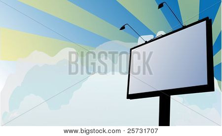 illustration with billboard on sky background