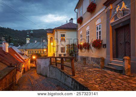 Banska Stiavnica, Slovakia - July 22, 2018: Street In The Old Town Of Banska Stiavnica In Central Sl