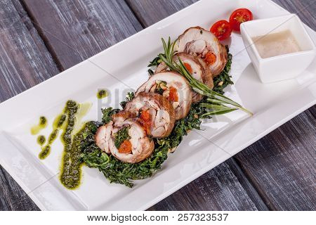 Chicken Roulade With Spinach, Nuts And Dried Apricots