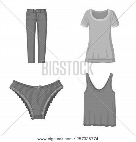 Isolated Object Of Woman And Clothing Symbol. Set Of Woman And Wear Stock Symbol For Web.