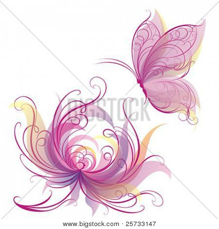 Card with a flower and butterfly