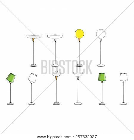 Set Lamp Icon. Vector Illustration Of A Floor Lamp. Hand Drawn Set Floor Lamp.