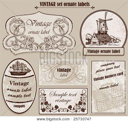 Vintage set ornate labels