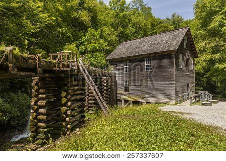 An Old Grist Mill With Flume In The Woods.