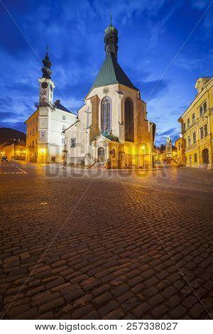 Banska Stiavnica, Slovakia - July 22, 2018: Main Street In The Old Town Of Banska Stiavnica In Centr