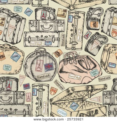 Seamless background of the old vintage suitcases