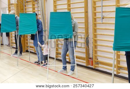 Stockholm, Sweden - Sep 09, 2018: People Voting In The Polling-booth In The General Elections In Swe
