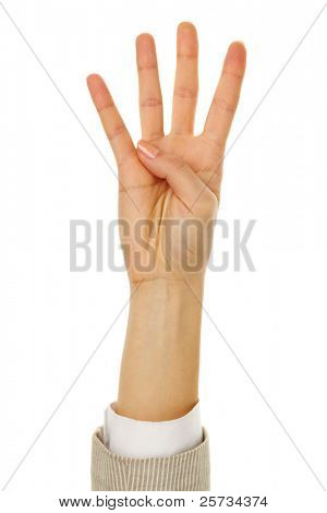 Image of female hand showing four fingers on a white background