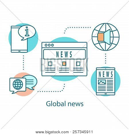 Global News Concept Icon. Mass Media. Electronic Newspaper Idea Thin Line Illustration. Newscast. Ve