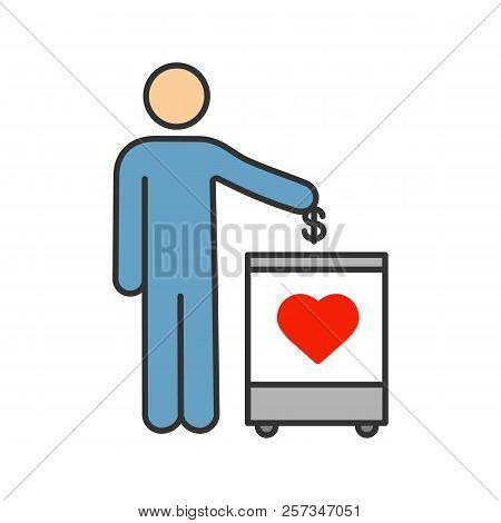Donation box color icon. Moneybox. Fundraising. Donate money to charity. Person dropping dollar coin into donation box. Isolated vector illustration poster