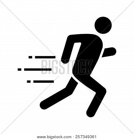 Running Man Glyph Icon. Runner, Sprinter. Escape. Jogging. Motion. Silhouette Symbol. Negative Space