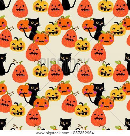 Cute Black Cat And Halloween Pumpkin Seamless Pattern. Cute Halloween Concept.