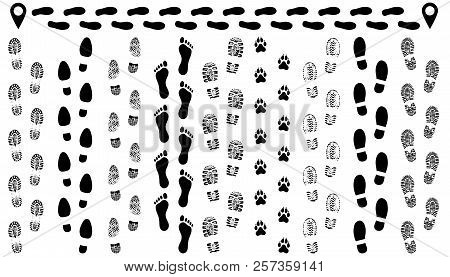 Footprint Of Shoes On The Road, Isolated Set Silhouette Vector. Traces Sole, Imprint. Footstep, Foot