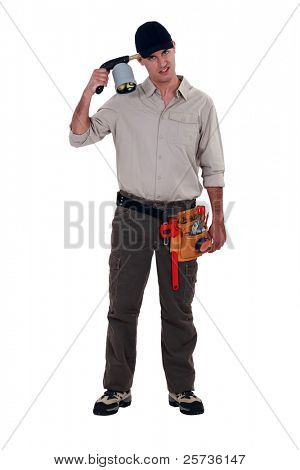 A manual worker about to blow his head off with a welding torch.
