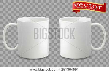 Photo Realistic White Cup Isolated On The Transparent Background. Design Template For Mock Up. Vecto