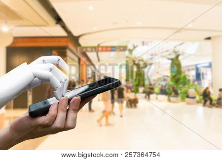 Robotic Artificial Intelligence Transition Human Hand To Robot Hand Press The Smartphone Button Or S