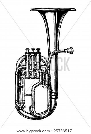 Vector Hand Drawn Illustration Of Tenor Horn In Vintage Engraved Style. Isolated On White Background