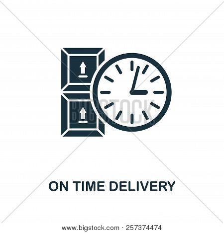 On Time Delivery Icon. Monochrome Style Design From Logistics Delivery Icon Collection. Ui. Pixel Pe
