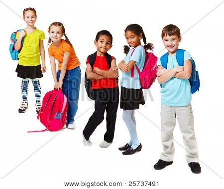 School kids group, over white