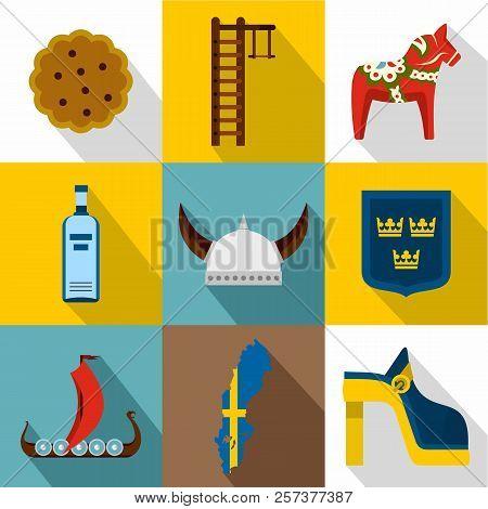 Tourism In Sweden Icons Set. Flat Illustration Of 9 Tourism In Sweden Icons For Web