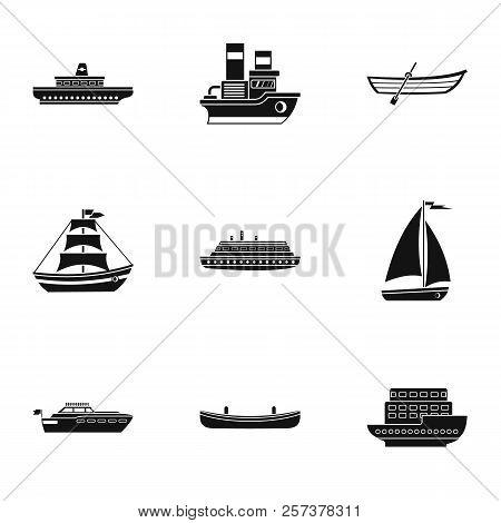 Ocean Transport Icons Set. Simple Illustration Of 9 Ocean Transport Icons For Web