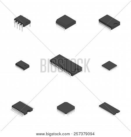 Set Of Different Active And Passive Electronic Components Isolated On White Background. Flat 3d Isom