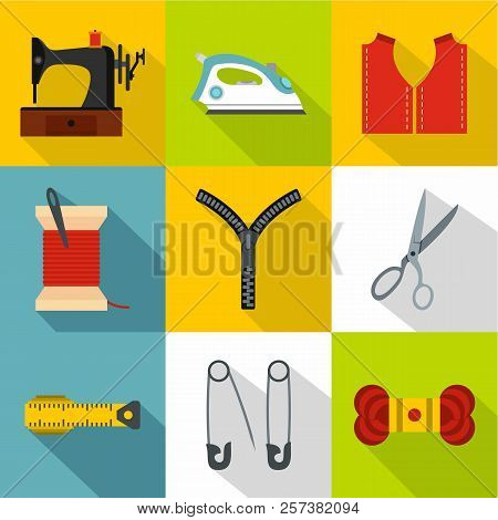 Accessories For Sewing Workshop Icons Set. Flat Illustration Of 9 Accessories For Sewing Workshop Ic