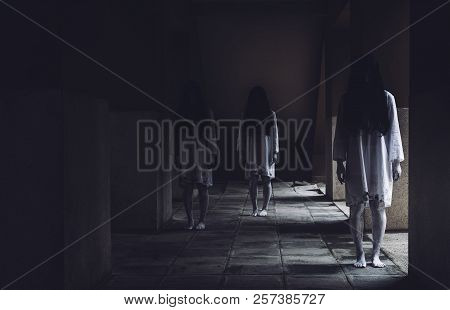 Horror Scene Of Ghost Woman Death Movie Halloween Festival In The Dark House Nightmare Screaming On
