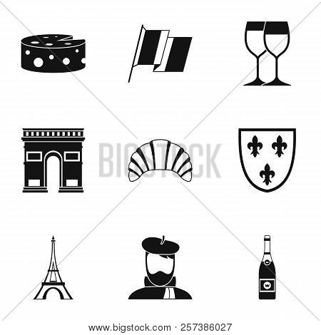 Tourism In France Icons Set. Simple Illustration Of 9 Tourism In France Icons For Web