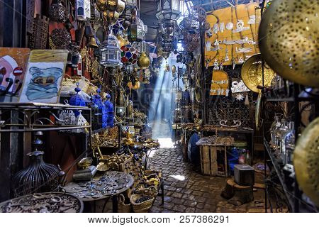 Marrakech, Morocco - December 30, 2017: A Narrow Passage In The Souk Haddadine. A Souq Or Souk Is A