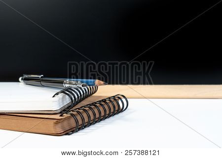 Classic Graduation School Background With Education Equipment Pen, Pencil, Book And Backboard With C