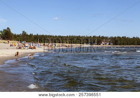 Salusand, Sweden On July 27. View Of A Beach Up North In Bright Sunshine On July 27, 2018 In Salusan