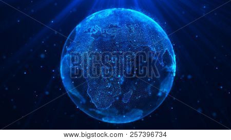 Global Music Background. Global Network Planet Earth. 3D Rendering. World Map Point.