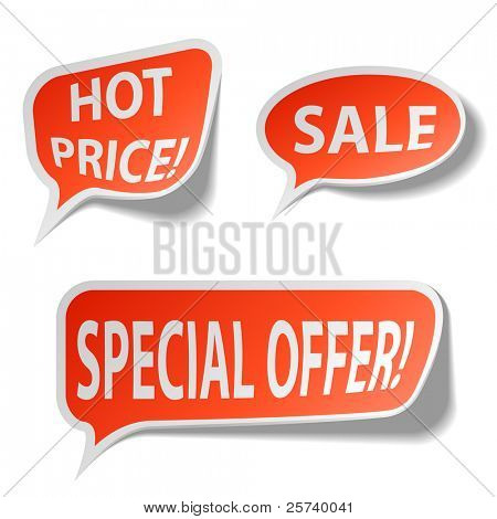 Red sale bubble tags isolated on white.
