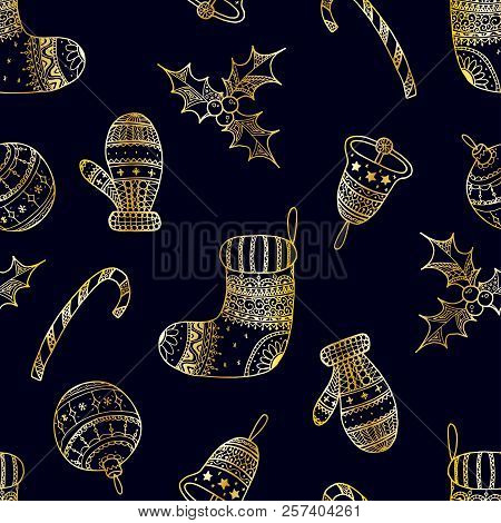 Vector Seamless Pattern Of Golden Christmas Decorative Symbols On Dark Background - Candy Cane, Tree