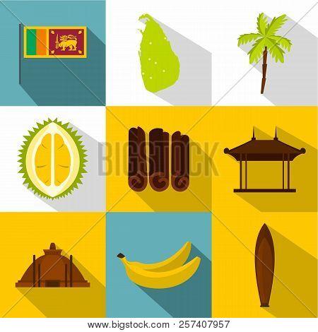 Tourism In Sri Lanka Icons Set. Flat Illustration Of 9 Tourism In Sri Lanka Icons For Web