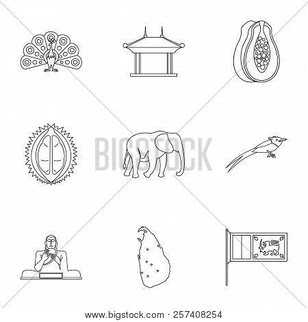 Tourism In Sri Lanka Icons Set. Outline Illustration Of 9 Tourism In Sri Lanka Icons For Web