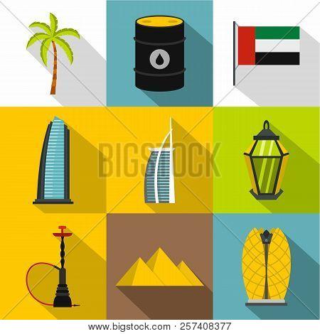 Tourism In Uae Icons Set. Flat Illustration Of 9 Tourism In Uae Icons For Web