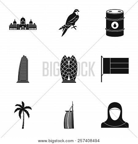 Tourism In Uae Icons Set. Simple Illustration Of 9 Tourism In Uae Icons For Web