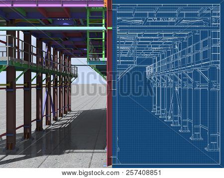 3D Rendering. Bim Model Of A Building Made Of Metal Structure. 3D Architectural, Construction, Indus