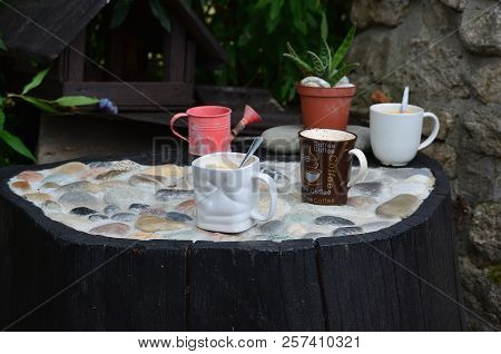 Cups Of Hot Coffee In The Garden Corner, South Bohemia, Czech Republic