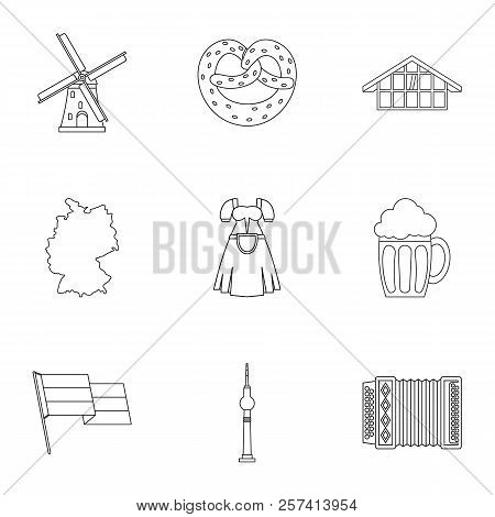 Tourism In Germany Icons Set. Outline Illustration Of 9 Tourism In Germany Icons For Web