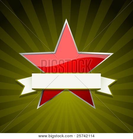 Red star with ribbon